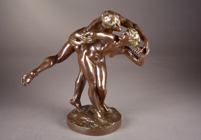 """After Jef Lambeaux (1852 – 1908) - an impressive bronze sculpture of a naked man and woman in dynamic pose titled """"the Kiss"""" - Belgium - early 20th century"""