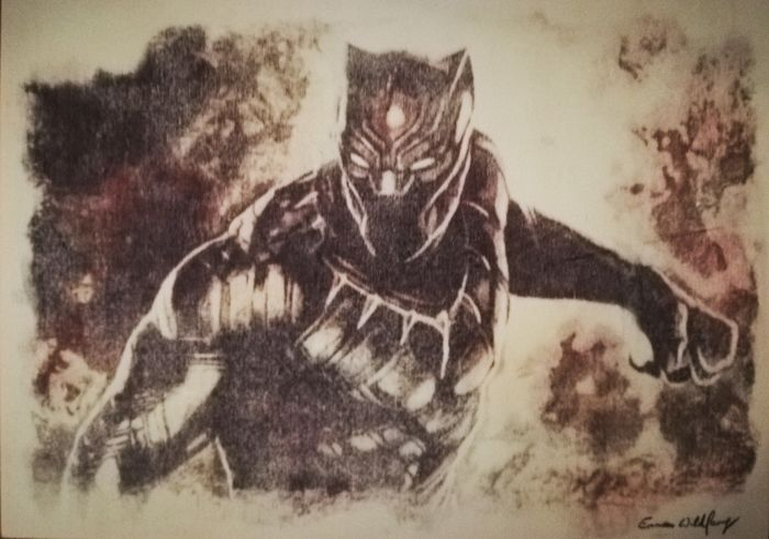Black Panther - Original artwork  - on a wooden plate - (2018)