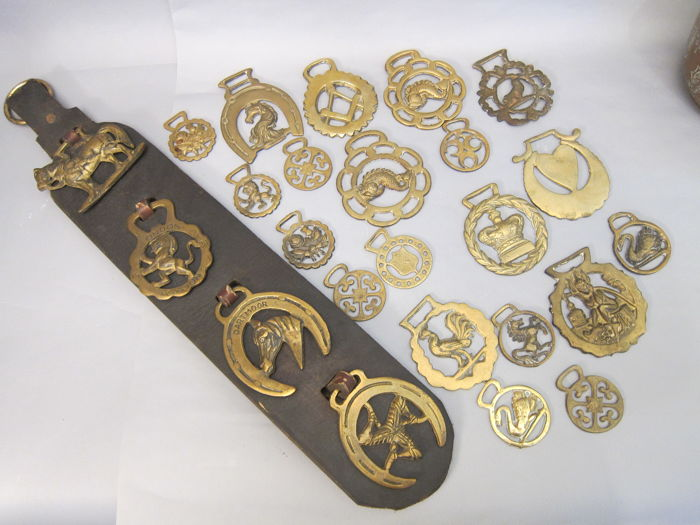 Lot Horse Brasses On Leather Strap and and a lot separately (20)