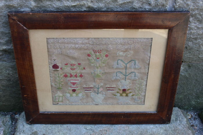 Framed needlework sampler - Dated 1867 - depicting flowerpots