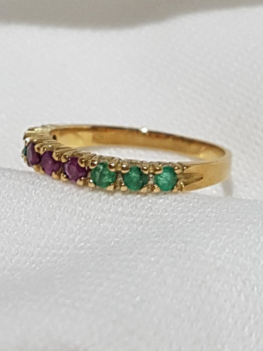 Gold emerald rings second hand jewellery buy and sell in the uk please click on respond to advert to get redirected to the catawiki website design ring material 18 kt yellow goldilliant cut emeralds and rubies aloadofball Gallery