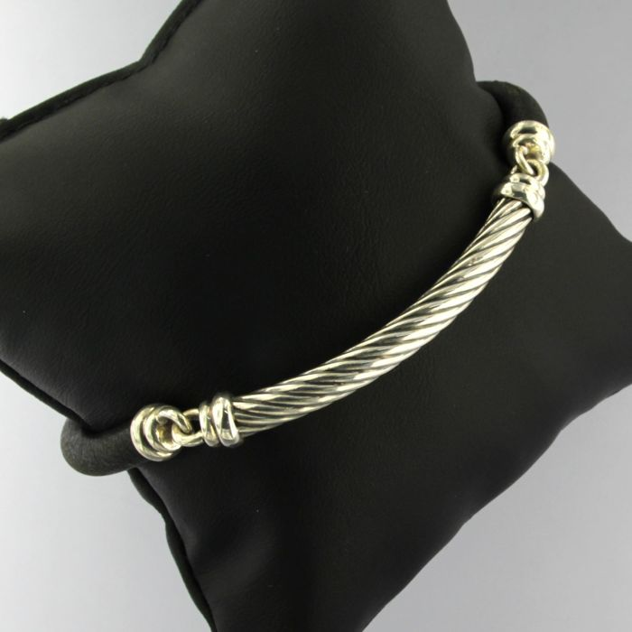 David Yurman - Silver bracelet with leather spacers