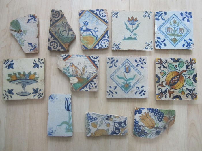 Restored majolica tiles and fragments