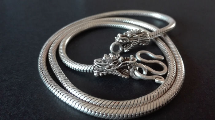 Dragon heads necklace - silver 925