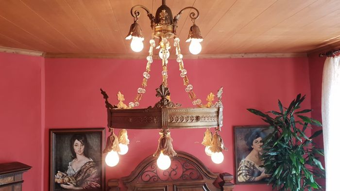 Hanging lamp / light with 9 bulbs - classicism style - ca. 1890