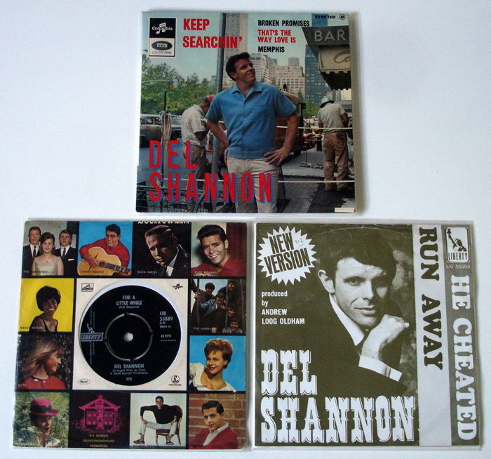 2x Singles + 1 very rare EP Rock & Roll / Pop by DEL SHANNON All Original 1st Pressings From The 1960'S From Holland & FRANCE