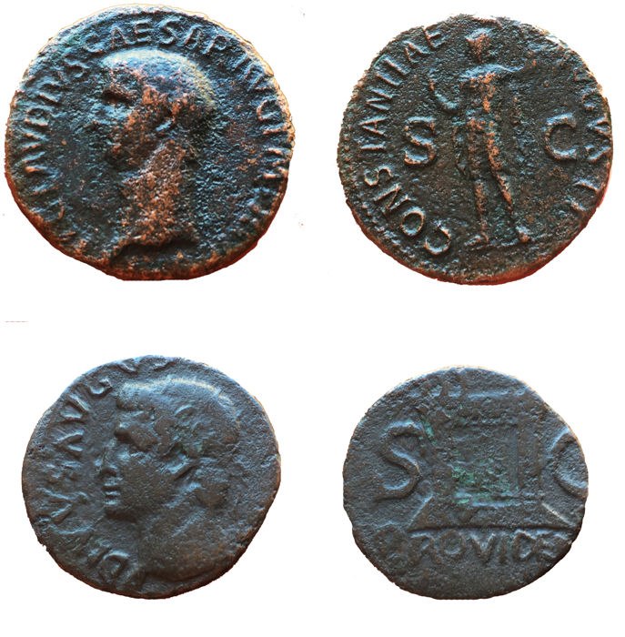Roman Empire - Lotto 2 Assi: Claudio (41-54 d C ) e Tiberio (14-37 d C ) -  Catawiki