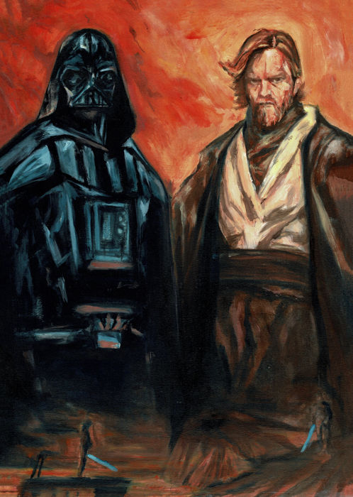 Darth Vader & Obi Wan Kenobi - Star Wars - Original Painting - RUTTUM - First edition