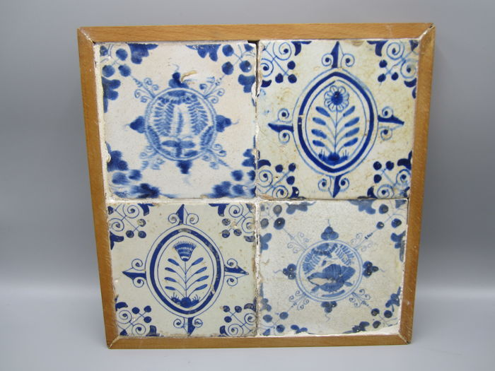 Block of early blue tiles