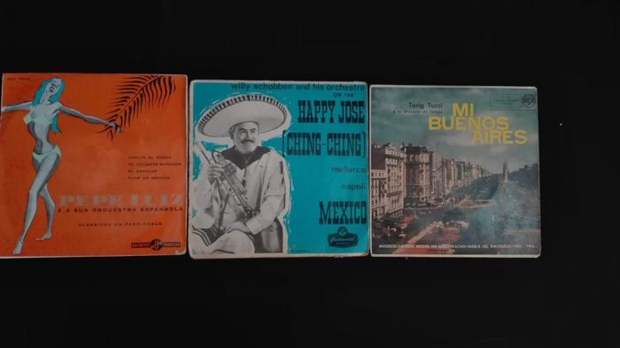 3 Single 45 rpm Vinyl discs: Pepe Luiz e a sua Orquestra Espanhola; Ducretet Thomson DEP 75.048 // Willy schobben and his orchestra: Continental Records QB 146 // Mi Buenos Aires. Terig Tucci y su Orquesta de Tangos: RCA 3-20244