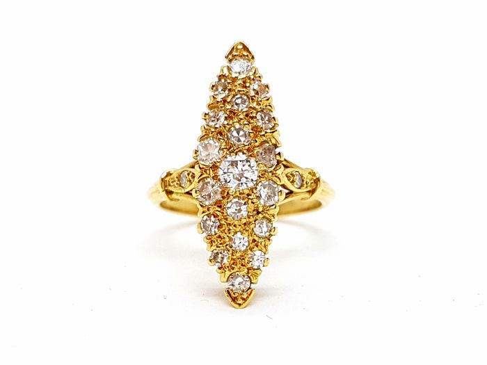 Ring - 18 kt yellow gold - diamonds 0.40 ct - size 54 EU