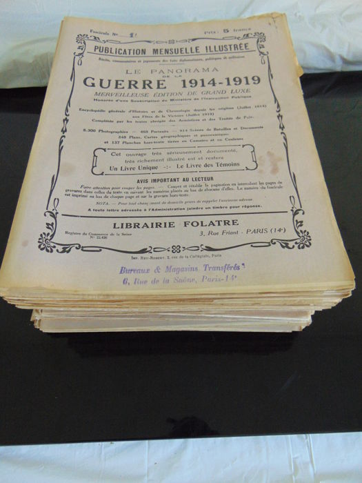 Lot of 64 magazines Le panorama de la guerre 1914 - 1919/ Monthly illustrated luxury publication