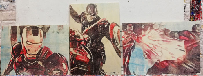 Triptychon CIVIL WAR - Original artworks  - on 3 wooden plates - (2018)