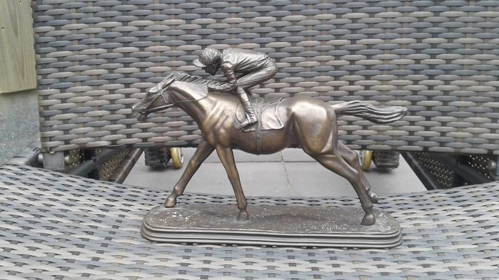 Jockey on Horse - Late 20th Century- Oliver Tupton - Bronze- Signed by artist