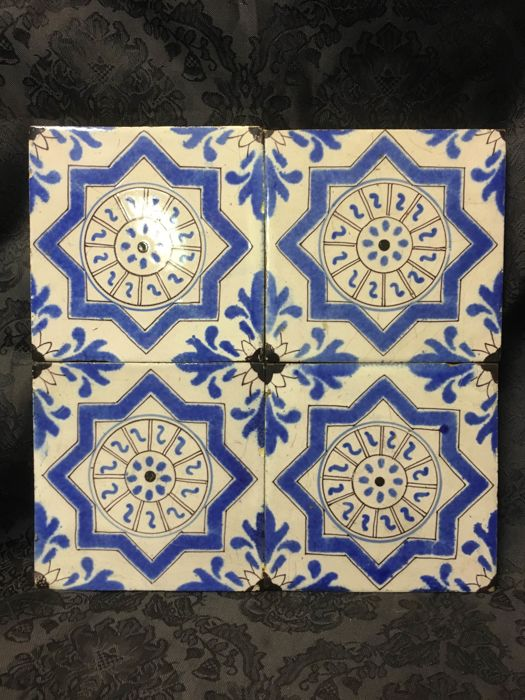 Tableau with four tiles - Holland, end of the 1800s