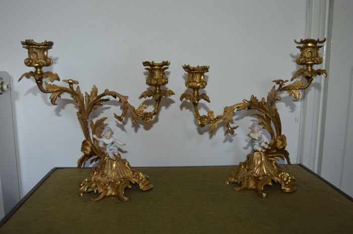 Pair of Rococo-style bronze ormolu and porcelain candelebra - France - 19th century