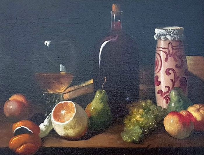 Spanish School s. XX - Still life of grapes and wine