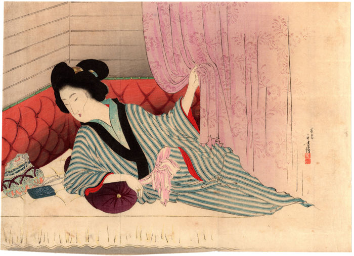 Original kuchi-e woodblock print by Mizuno Toshikata (1866-1908) - The Captain's Wife - Japan - 1900