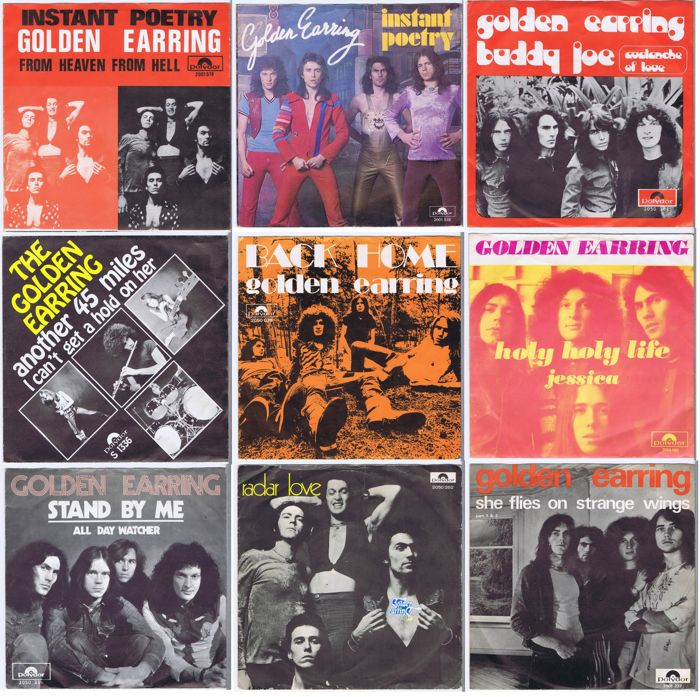 "GOLDEN EARRINGS - collection of 9 original 7"" 45RPM w/PS 45s 1969 - 1974 (1 x made in Belgium 