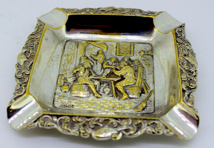 Antique silver plated Ashtray, Figural Tavern Scene, Holland