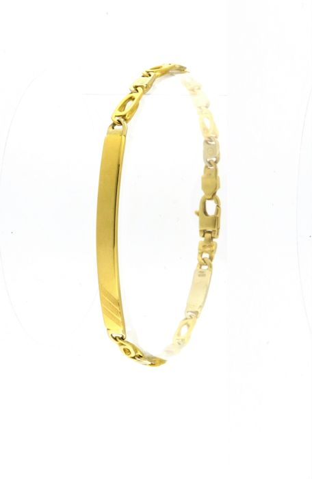 Beautiful bracelet with a customisable plate, made in Italy, in 18 kt (750/1000) yellow and white gold - Weight 13.9 g - Length 20 cm