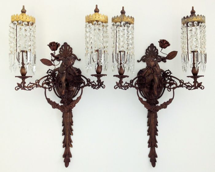 Pair of Iron, Ormolu and Gilt Iron Sconces Liberty Style - Itailian - ca. 1890/1914