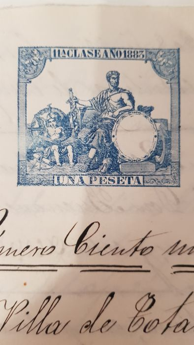Manuscript from the reign of Alfonso XII, from 1883, guarded by the executor Cristóbal Andreo Vidal, with embossed seal of the period