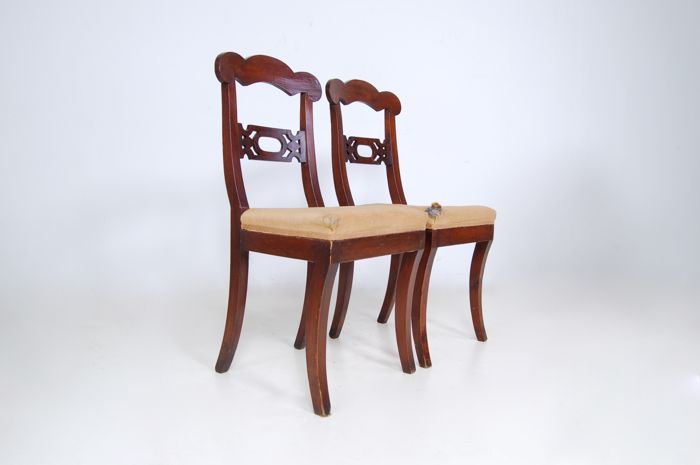 Pair of walnut wooden chairs, dating back to the first half of the 19th century