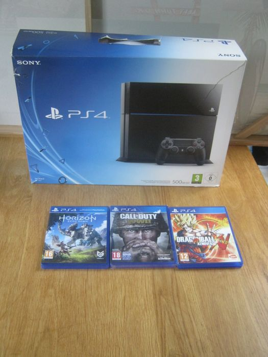 Boxed Sony PS4 (500gb) + 3 real good games like: Call of Duty WWII(new in seal)+Horizon zero dawn+Dragonball Xenoverse