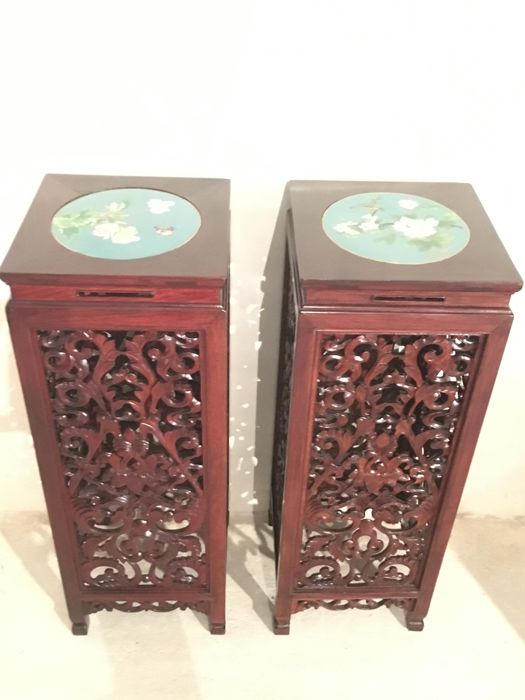 Pair of wooden columns in exotic carved wood, rosewood - China - 20th century