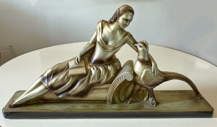 Pecchioli, Art Deco fireplace sculpture of woman with pheasant