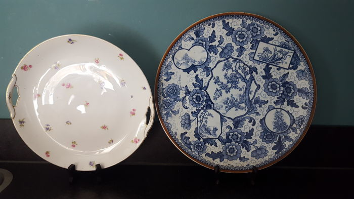 Large tokio plate delfts  blue and white porcelain dish wall plaque - Royal Bonn Franz Anton Mehlem  - Germany ca 1800's and Carl Krister Porzellanfabrik at Waldenburg / Niedersalzbrunn in Schlesie / Poland ca. 1904 - 1927.