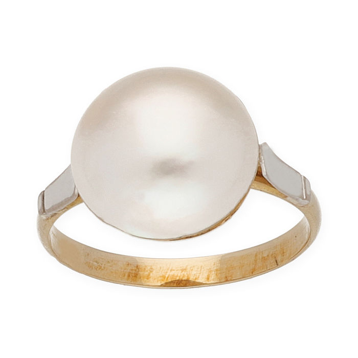 18 kt gold - two-tone cocktail ring - mabe pearl 12.05 mm - cocktail ring size 13.5 (Spain)