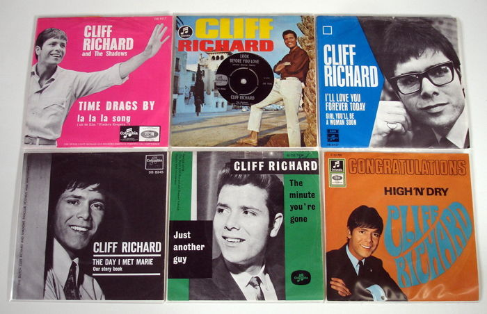 6x Singles Pop by CLIFF RICHARD All Original 1st Pressings From The 1960's From Holland