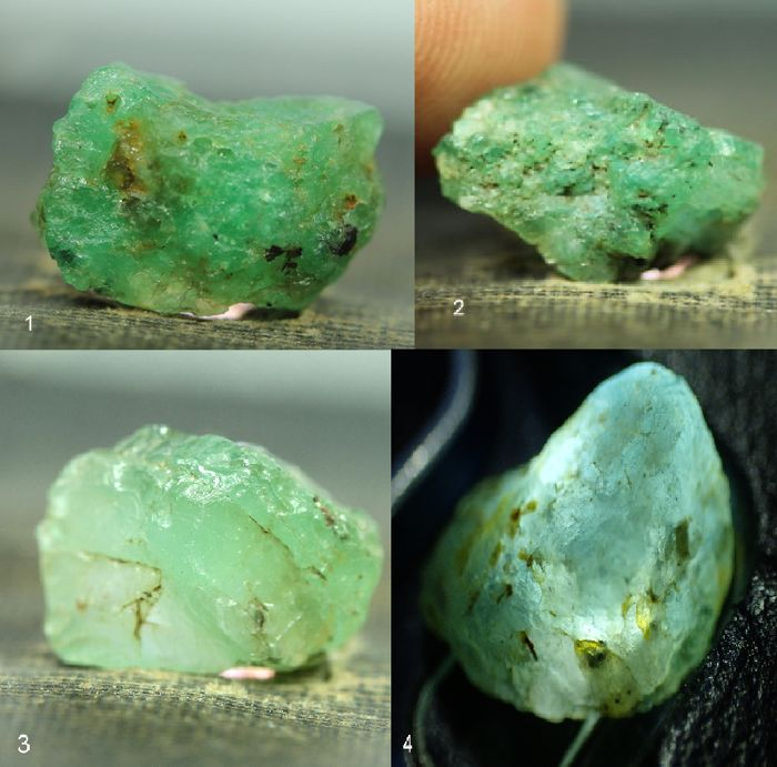 Nice Collection of Untreated Emerald Crystals - - - 23,7ct - (4)