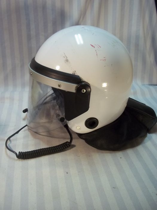 Dutch police helmet ME mobile unit of platoon commander with intercom