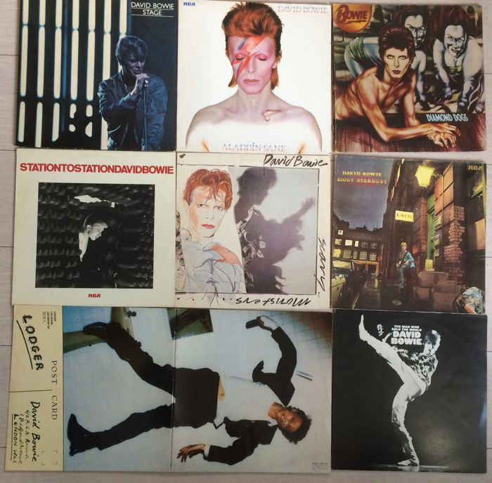 Davis Bowie :Lot of 8 LP Albums - including the yellow Stage!