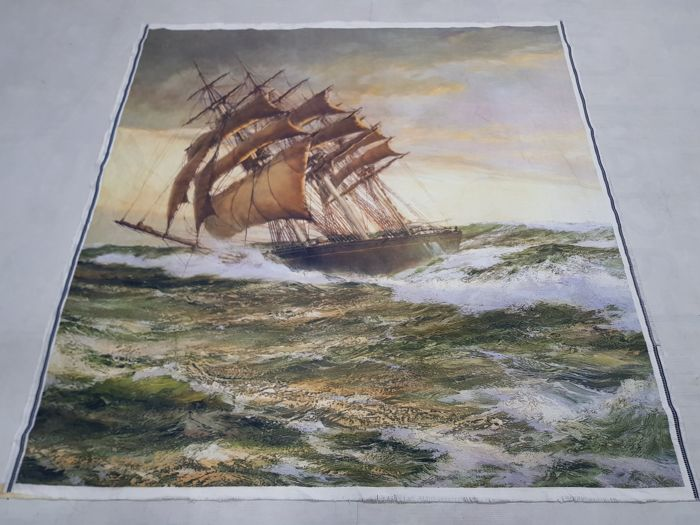 Vintage tapestry France machine woven 140 cm x 133 cm