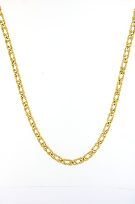 Classic necklace in 18 kt (750/1000) yellow gold with tiger's eye links - weight: 16.1 g Length: 50 cm