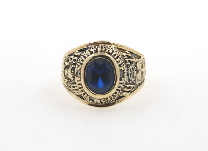 18 kt Nortfort High School ring with sapphire - size 63 (EU)