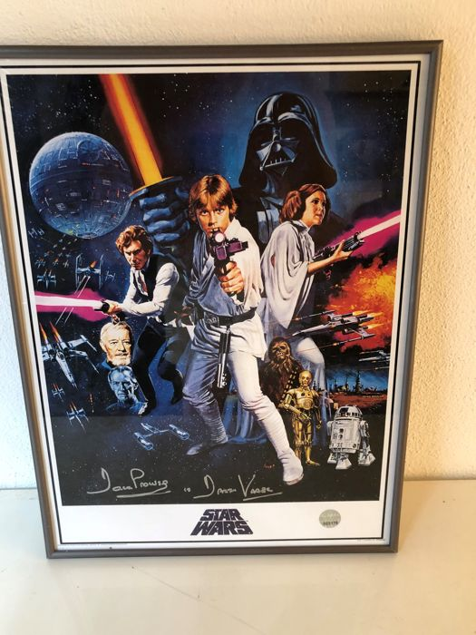 darth vader signed star wars poster in deluxe black frame - catawiki