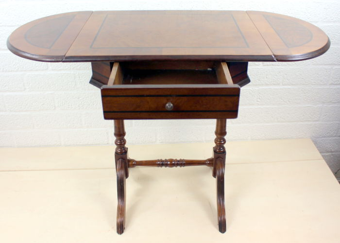 Walnut Drop Leaf Side Table With Drawer And Side Shields, Netherlands,  First Half 20th