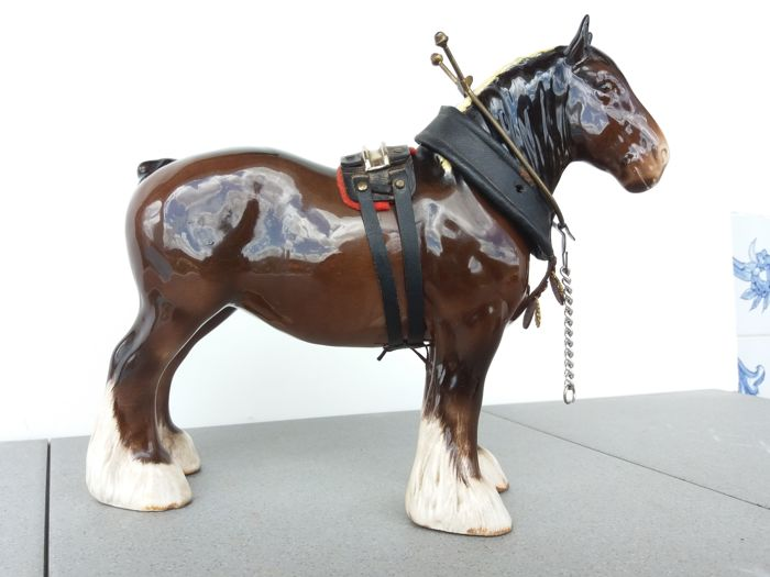 Beswick Shire horse with leather and brass / metal harnesses - hallmarked