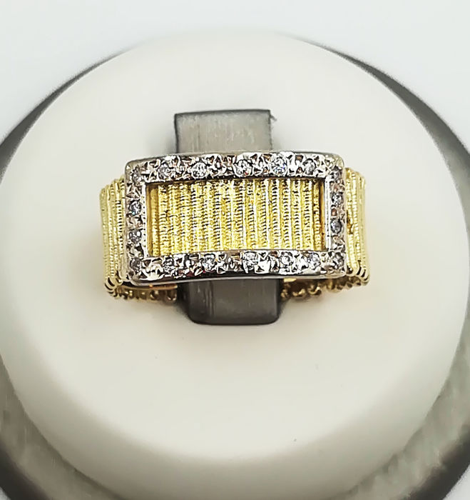 Women's band ring in 18 kt yellow gold with diamonds, G/VS, 0.09 ct - size 12