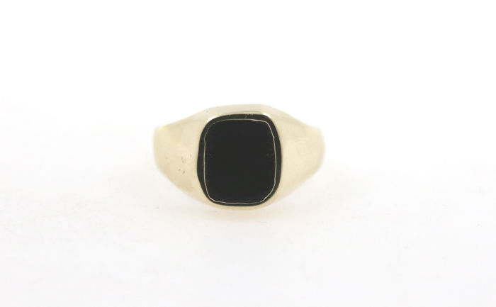 Men's onyx ring 585 gold yellow gold hallmarked -ring size 61