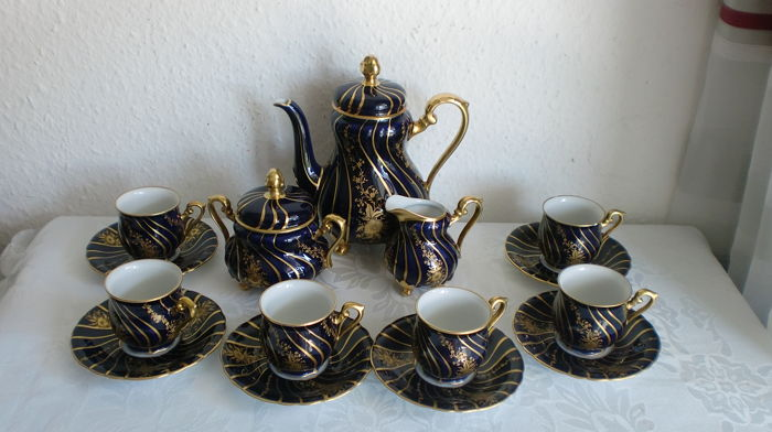 Hutschenreuther - Mocca service for 6 people, cobalt blue & gold