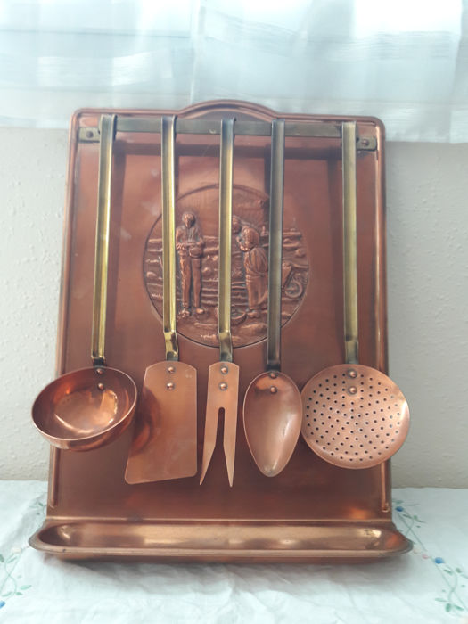 Antique Collectoru0027s Copper Kitchen Utensils Holder From France   Decor  Lu0027Angélus By Jean