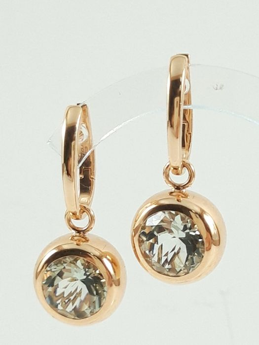 Mattioli - Women's earrings in 18 kt rose gold with prasiolite natural stone Weight: 14.3 g