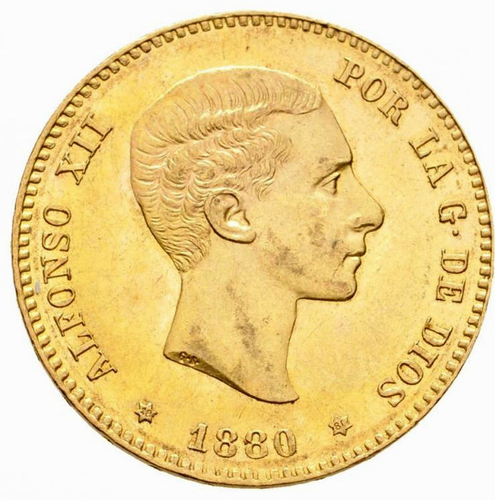 Spain - Alfonso XII, 25 pesetas. 1880 *18-80. Madrid. MS-M - Gold