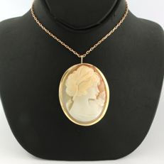 14 kt rose gold anchor link necklace with a rose gold cameo pendant